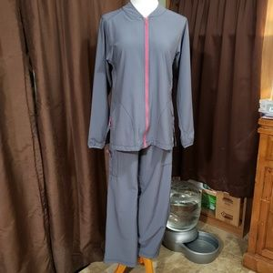 CARHARTT Sz Medium Gray & Raspberry Track Suit Set